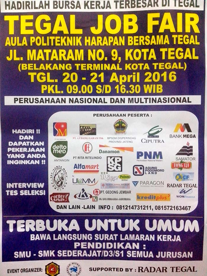 Tegal Job Fair April 2016 Di Politeknik Harapan Bersama
