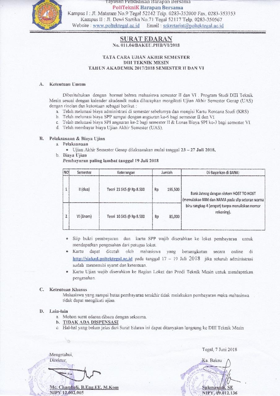 Surat Edaran Ujian Akhir Semester 2 dan 6 Prodi DIII Teknik Mesin