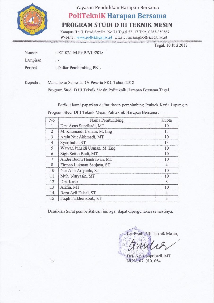 Daftar Dosen Pembimbing PKL 2018