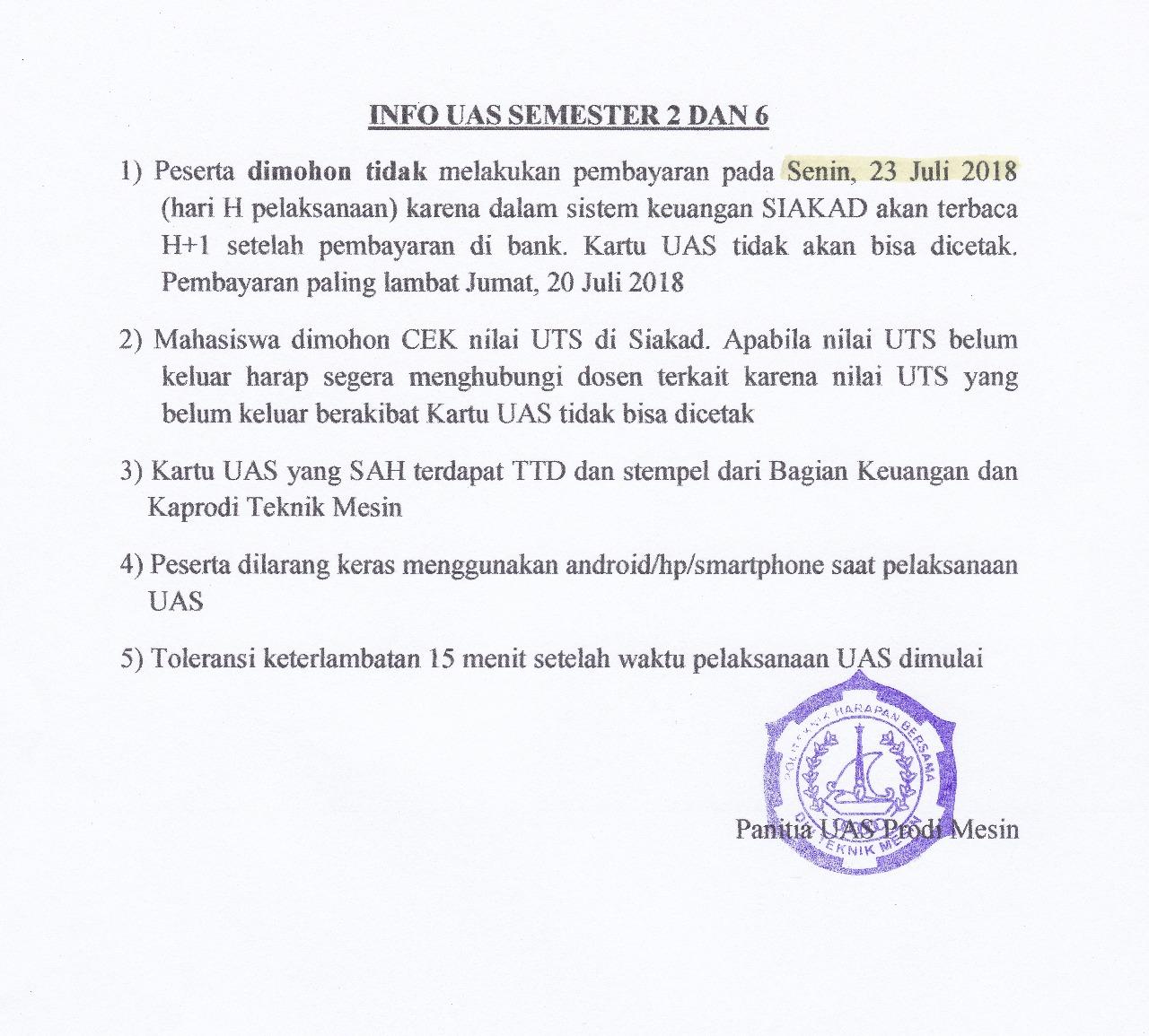 Info UAS Semester 2 dan 6 Prodi DIII Teknik Mesin