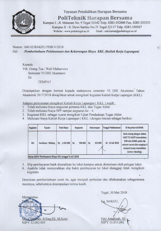 Surat Edaran Kuliah Kerja Lapangan (KKL) Prodi DIII Akuntansi