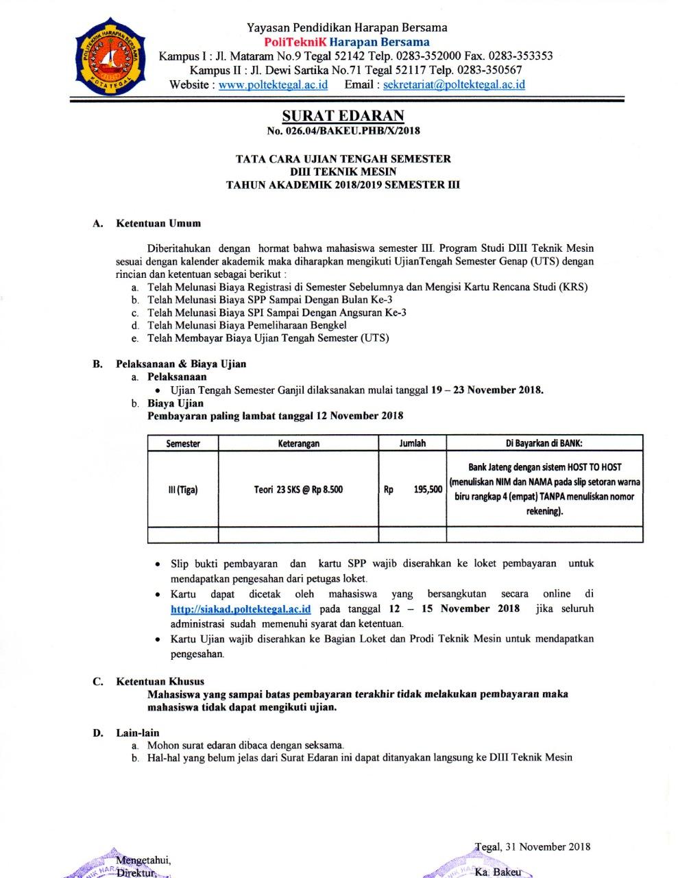 Pemberitahuan UTS Semester 3 Prodi Mesin T.A 2018/2019
