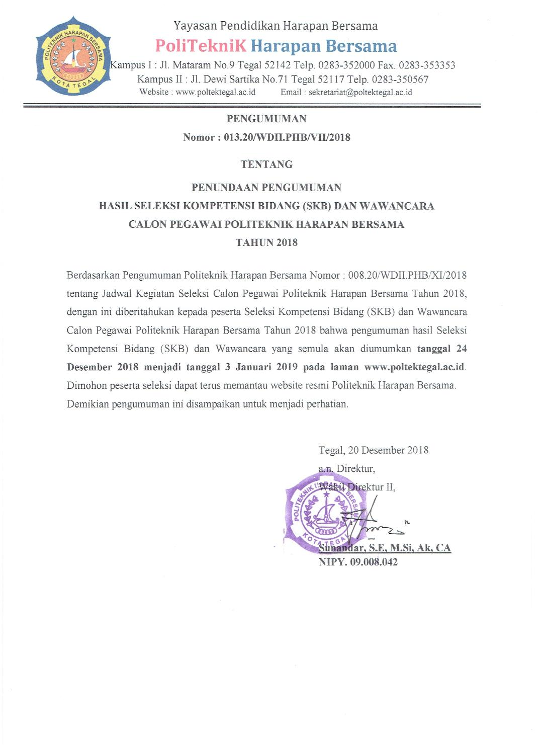 Penundaan Pengumuman Hasil SKB dan Wawancara Seleksi Pegawai PHB 2018