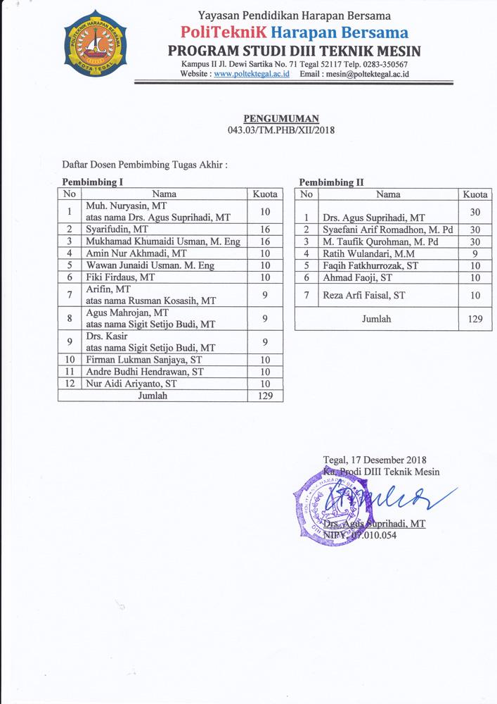 Dosen Pembimbing TA Prodi Teknik Mesin 2019