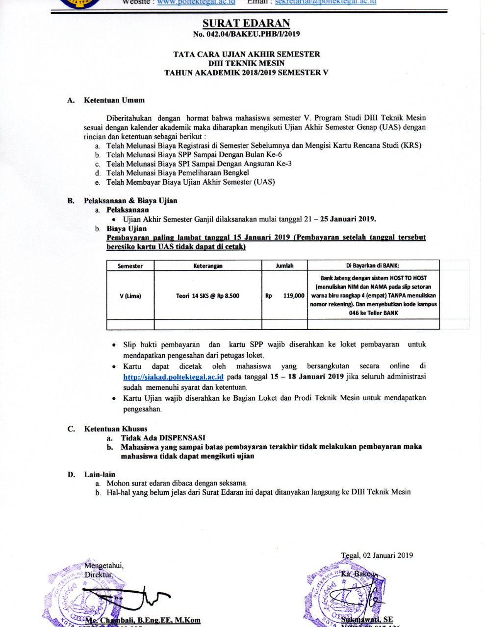 Surat Edaran UAS Semester 5 Prodi Mesin