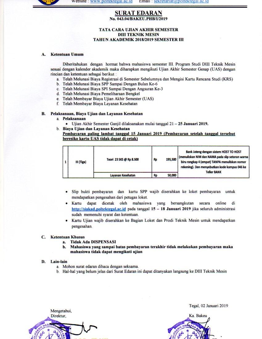 Surat Edaran UAS Semester 3 Prodi Mesin