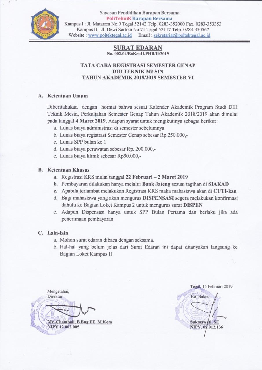 Registrasi KRS Semester 6 Prodi Teknik Mesin