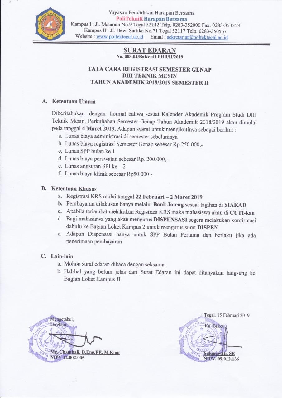 Registrasi KRS Semester 2 Prodi Teknik Mesin