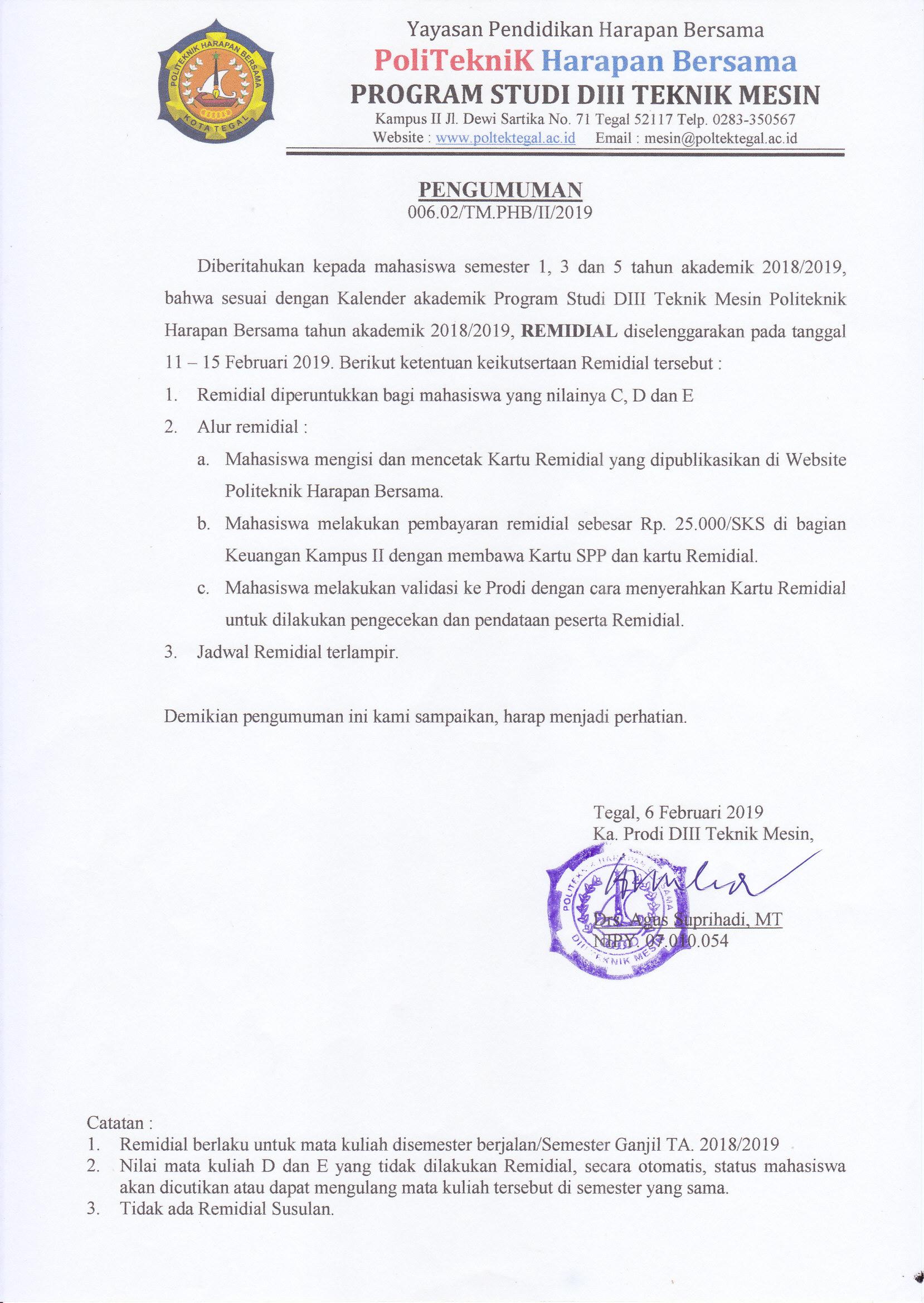 Pengumuman Remidial Semester Ganjil T.A 2018/2019 Prodi Teknik Mesin