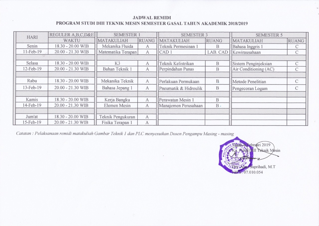 Jadwal Remidial Semester Ganjil T.A 2018/2019 Prodi Teknik Mesin