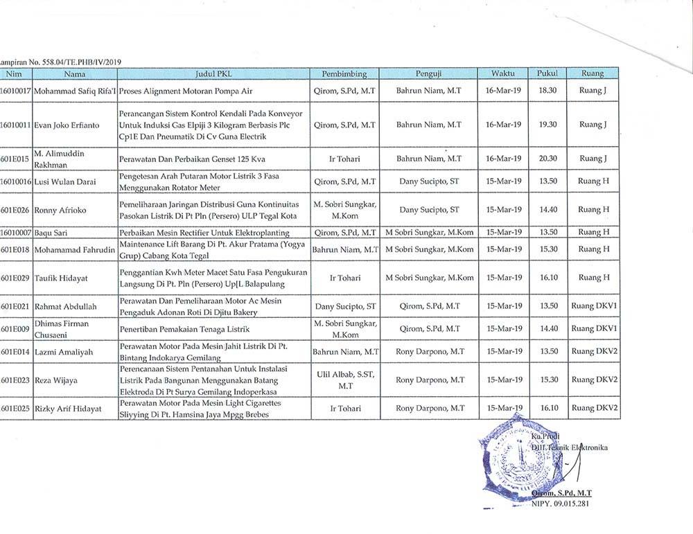Surat Edaran Seminar PKL Semester 6 TA 2018/2019 Genap