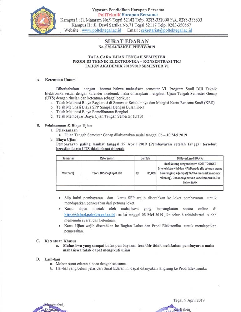 Surat Edaran UTS TA 2018/2019 Genap