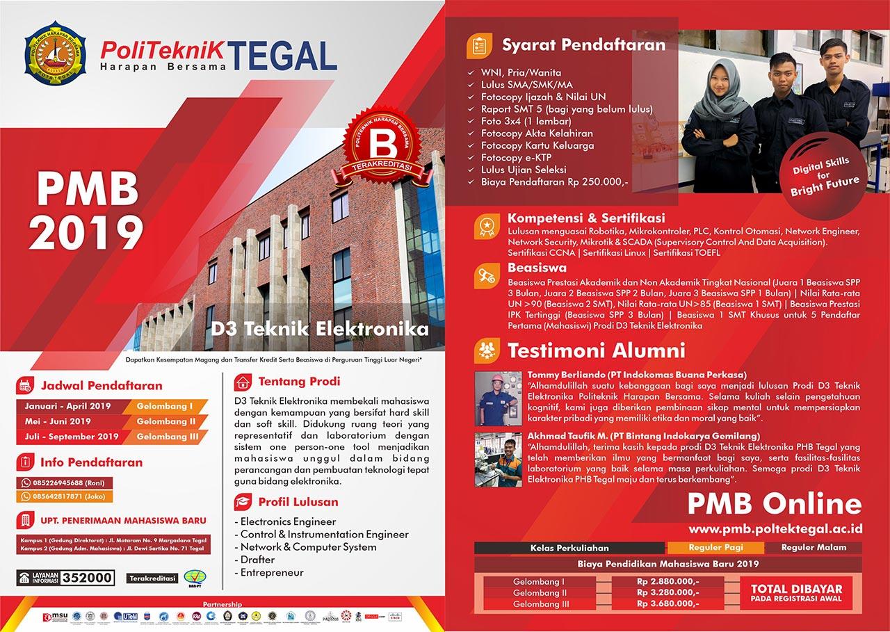 Info PMB DIII Teknik Elektronika Tahun 2019