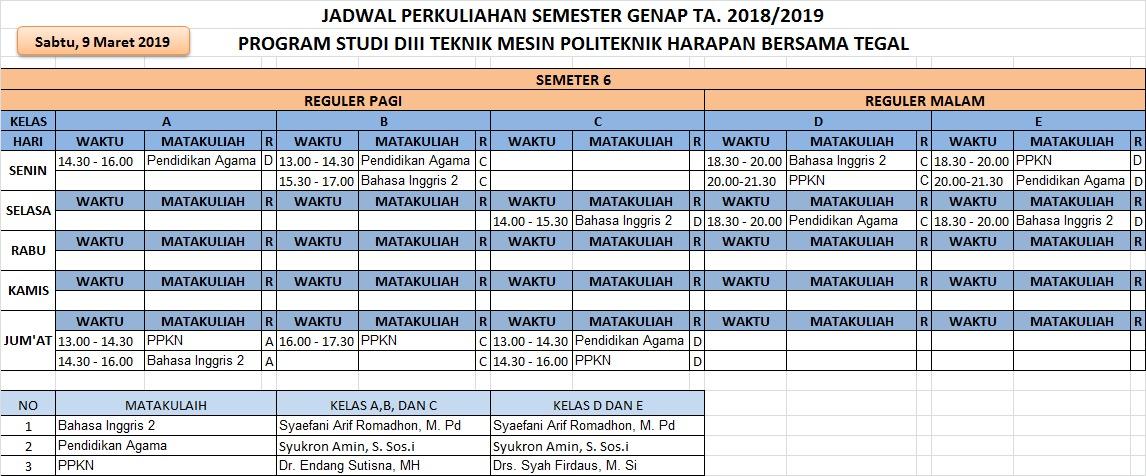 Jadwal Semester 6 Prodi Mesin TA. 2018/2019