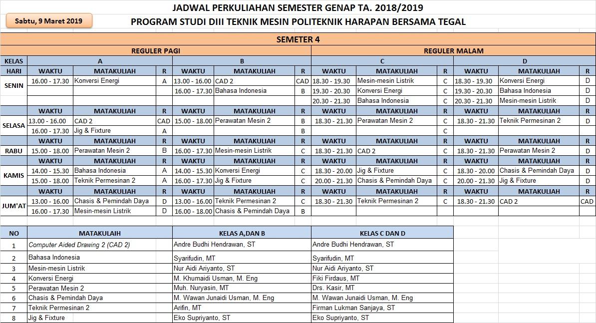 Jadwal Semester 4 Prodi Mesin TA. 2018/2019