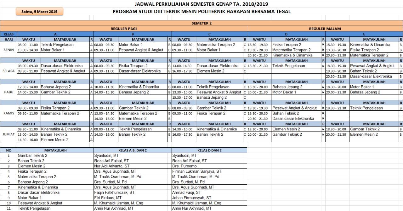 Jadwal Semester 2 Prodi Mesin TA. 2018/2019