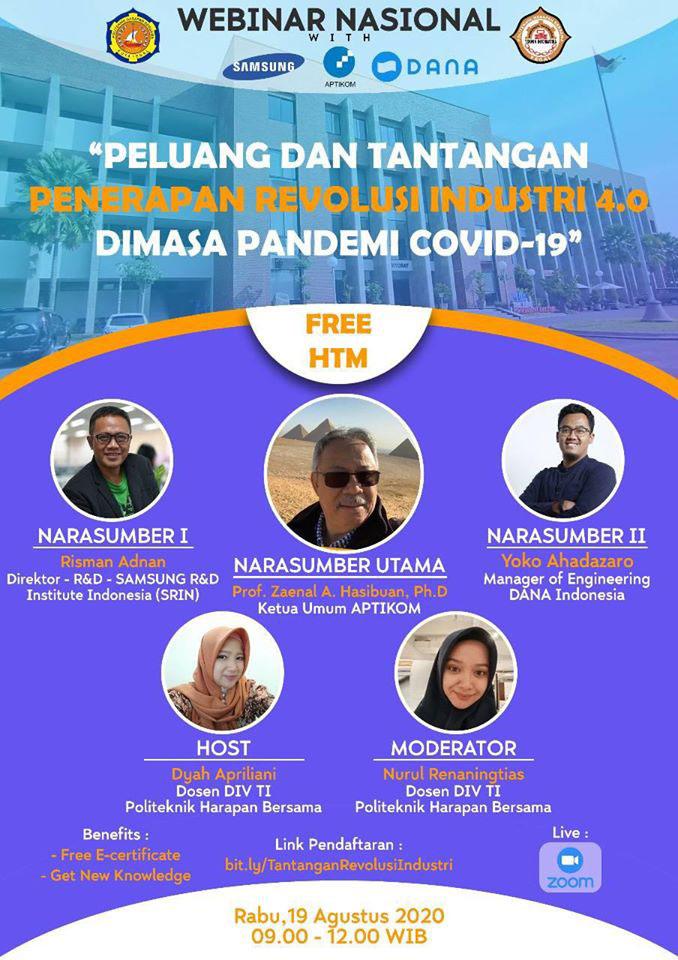 Webinar Nasional TI-PHB Usung Tema : Peluang dan Tantangan Penerapan Revolusi Industri 4.0 Di Masa Pandemi Covid 19