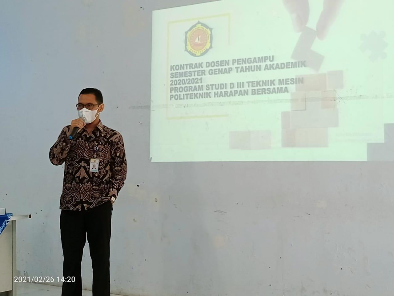 Kontrak Program Dosen Pengampu Prodi DIII Teknik Mesin Semester Genap TA 2020/2021.